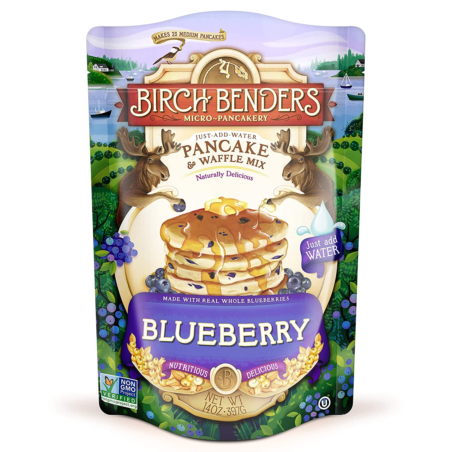 Blueberry Pancake and Waffle Mix by Birch Benders, Made with Real Blueberries, Just Add Water, Non-GMO, Dairy Free, Just Add Water, 14 Ounce, 1 Pack