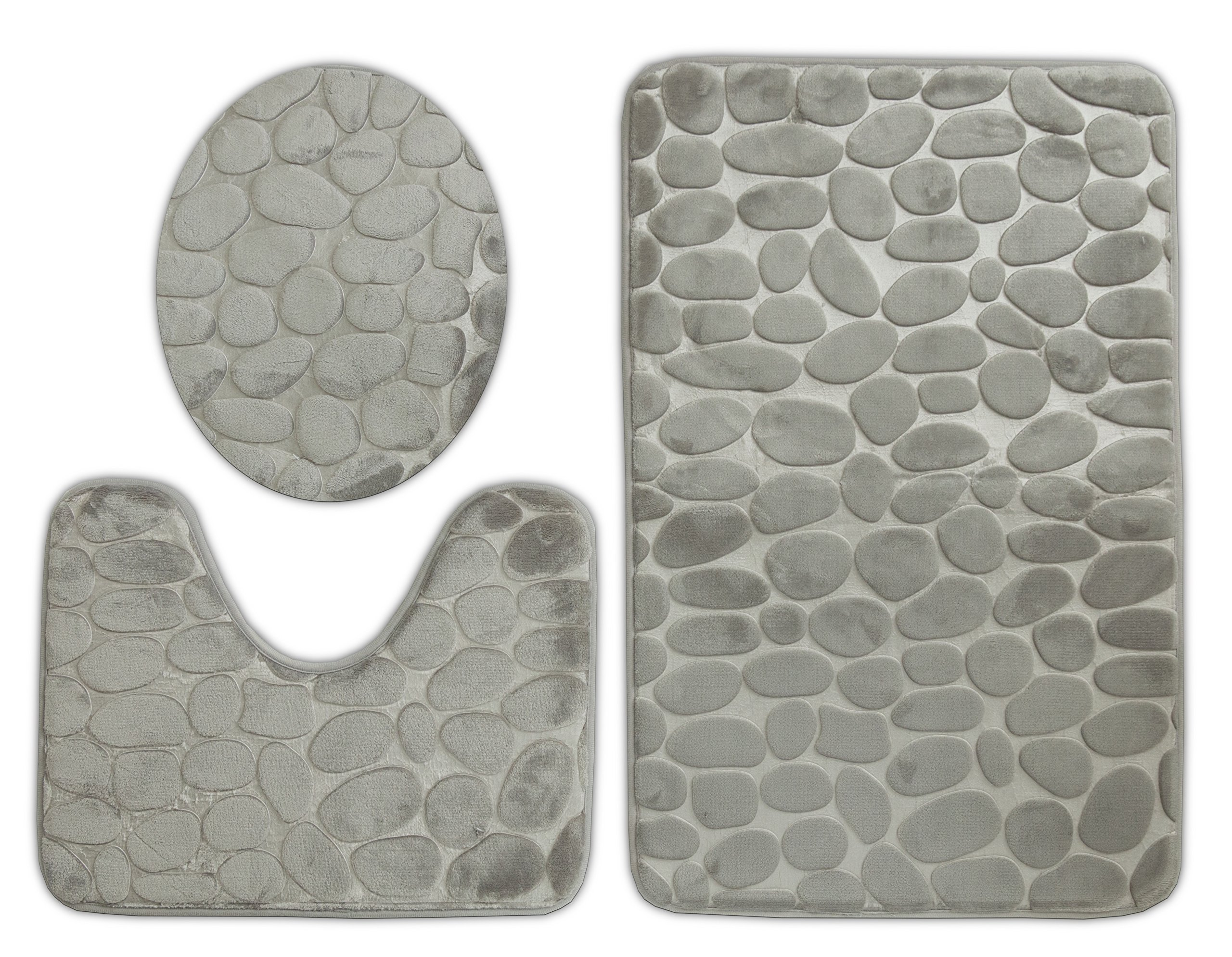 Elegant Home 3 Piece Solid Color Rock Embossed Memory Foam Bathroom Rug Set Bath Rug, Contour Mat, Lid Cover Non-Slip With Rubber Backing # New Rock (Grey)