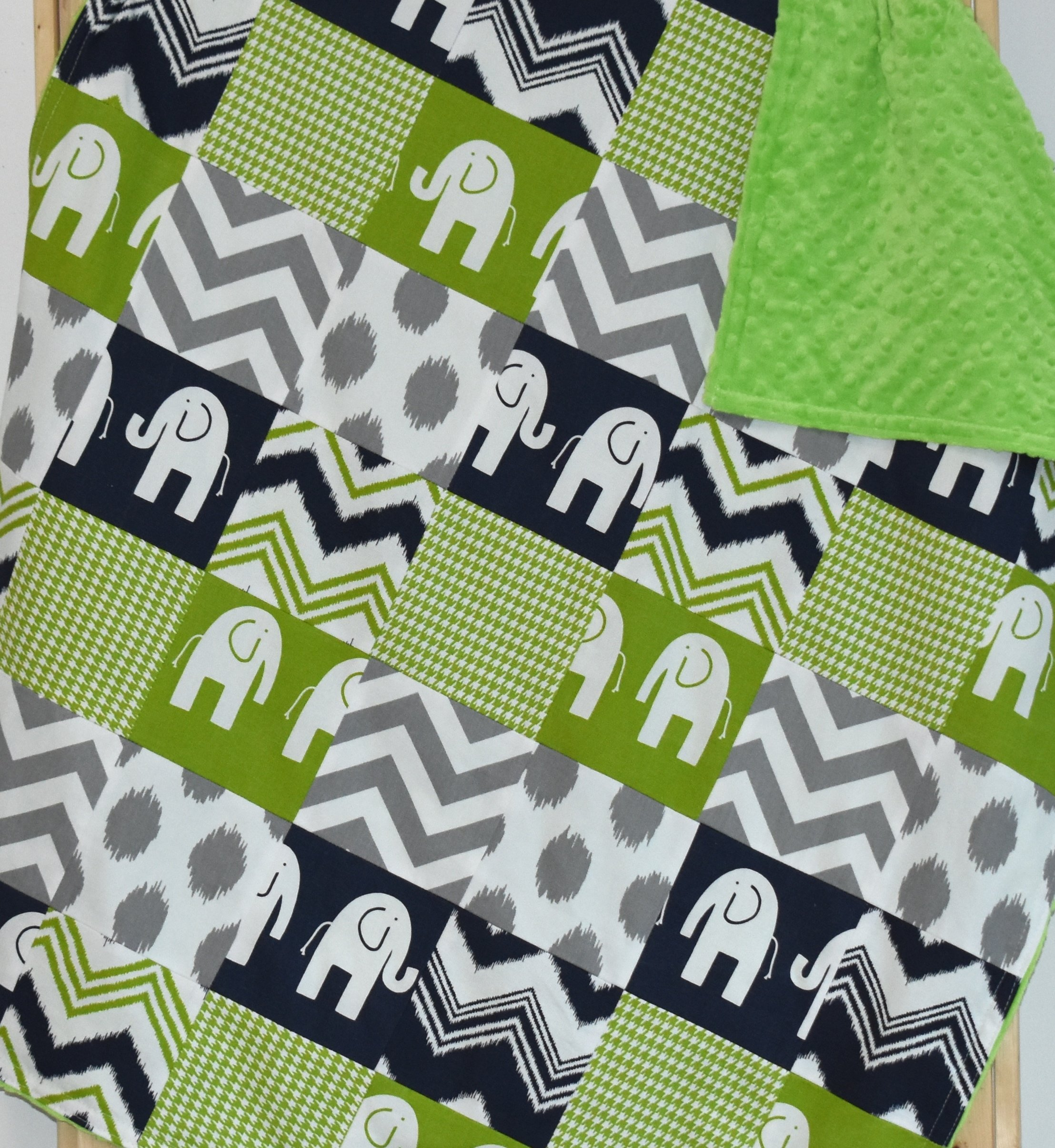 Green and Navy Elephants Blanket or quilt, Baby blanket, toddler blanket