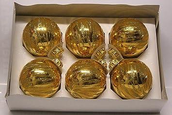 6er Set Christbaumkugeln Gold Glanzend Mit Glitter Glitzer Gold