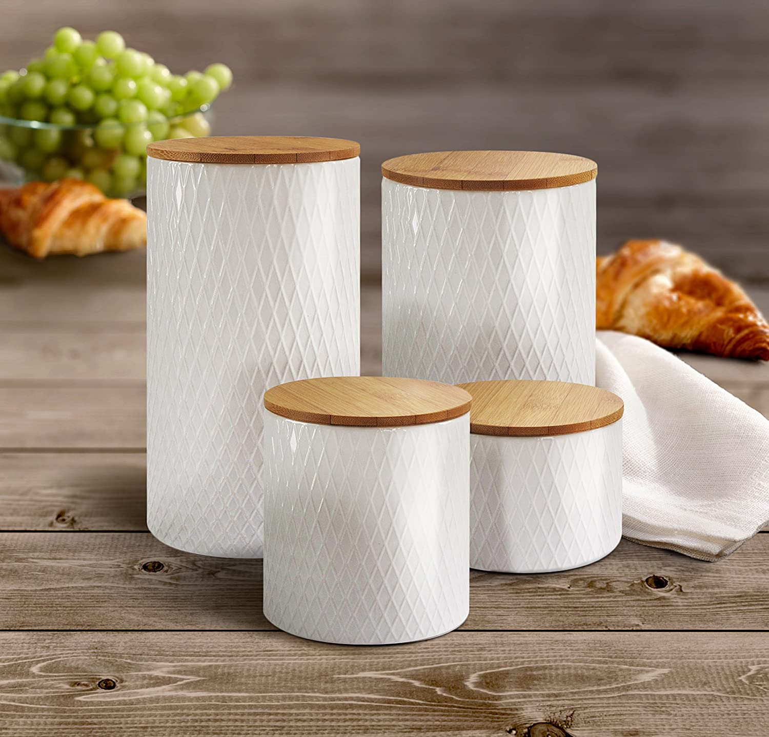 White 4.3 x 4.3 x 8.25 American Atelier 6863-CAN-RB Diamond Embossed Canister Set