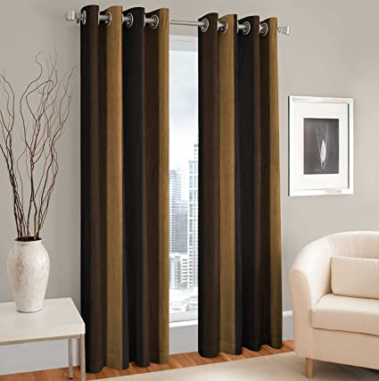 La Elite Modern 2 Piece Eyelet Polyester Door Curtain Set - 7ft, Brown