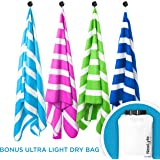 NewLyfe Microfiber Extra Large Quick Dry Beach Towel with Bag Compact for Travel 70x31