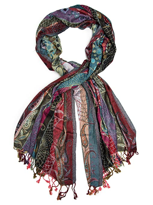 Vintage Scarves- New in the 1920s to 1960s Styles Bohomonde Harina Shawl Woven Reversible Striped Pashmina Scarf Hand Made in India $30.95 AT vintagedancer.com
