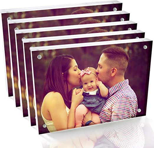 Cavepop 5x7 Clear Acrylic Magnetic Picture Frames 5 Pack