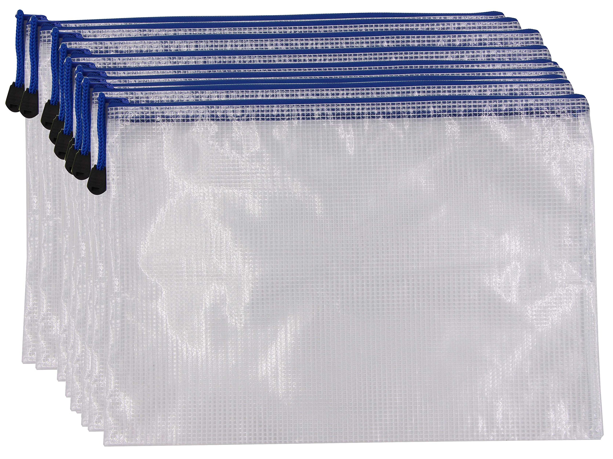 Zipper File Folder Bags - 10pcs Legal A4 Size Paper Document Pouches Clip-On Zippered Mesh Waterproof Files Storage Organizer Protector for Documents Newspapers Receipts Magazines (A4, White, 10)
