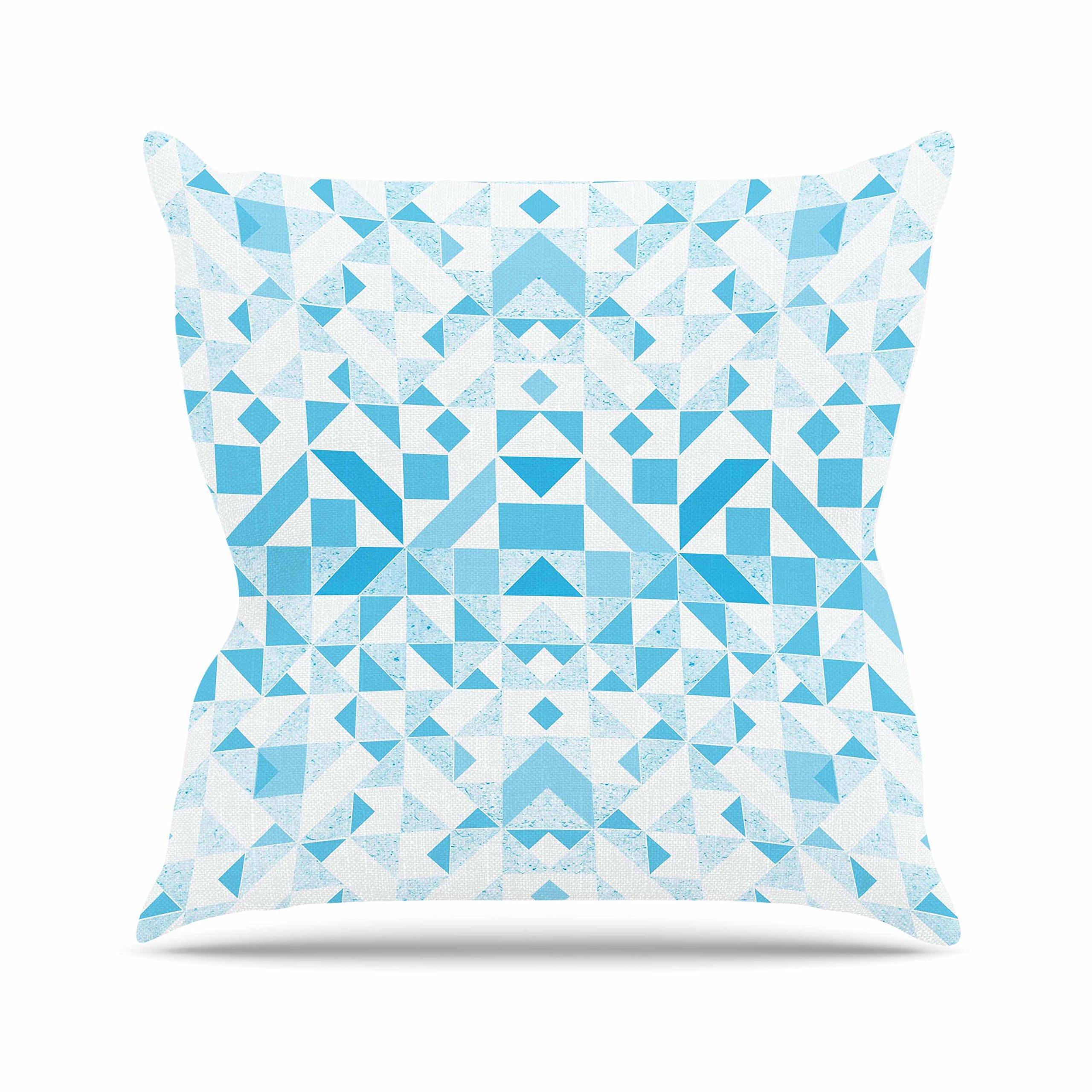 Kess InHouse Vasare Nar Light Blue Geometric Digital Blue Outdoor Throw Pillow, 16'' x 16''