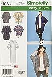 Simplicity 1108Taille A 2X -small/XS/S/M/L/XL/2x L cm Patron de kimono dans différents styles de Patron de Couture