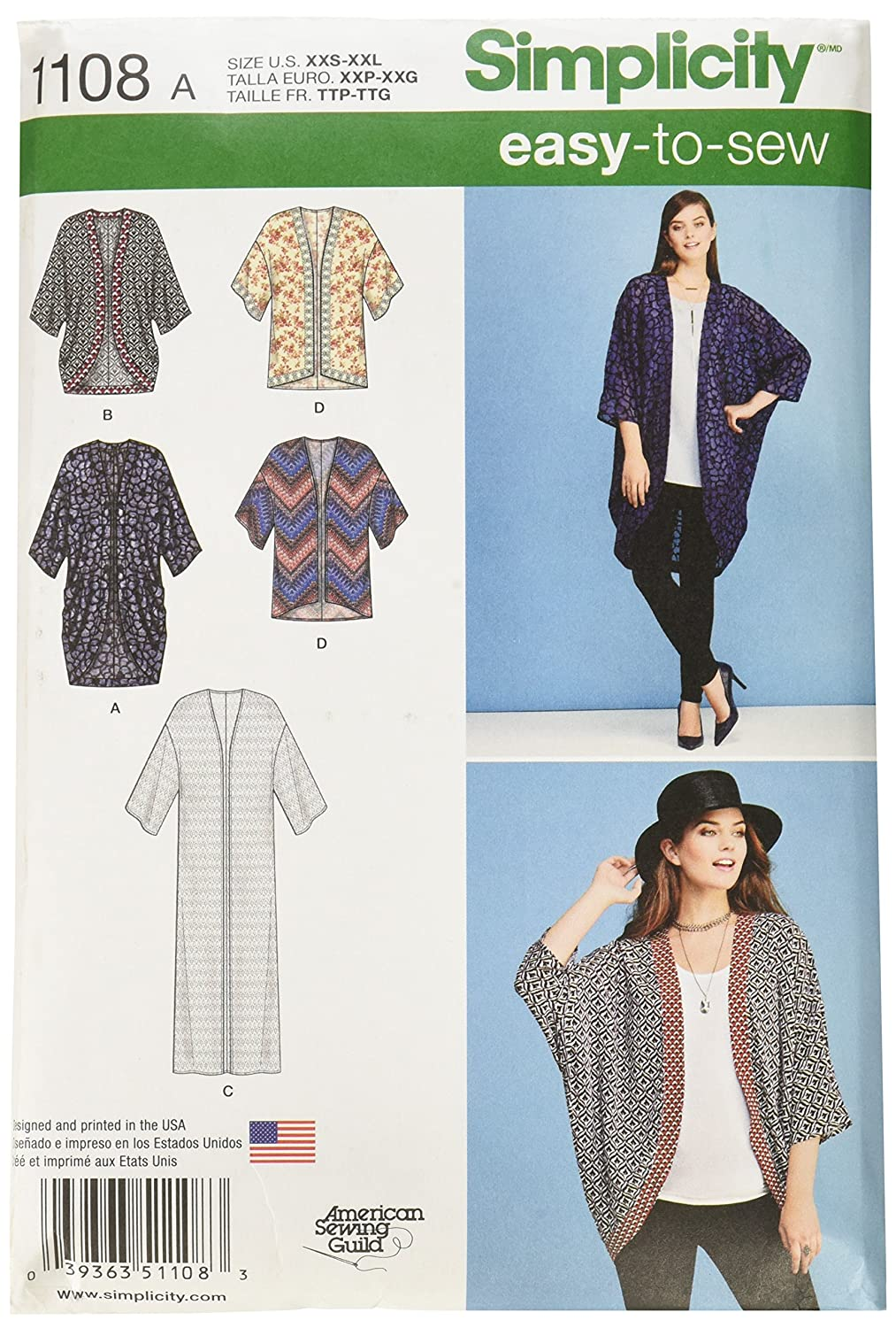 Simplicity Sewing Pattern 1318: Misses\' Kimono Jackets, Size A ...