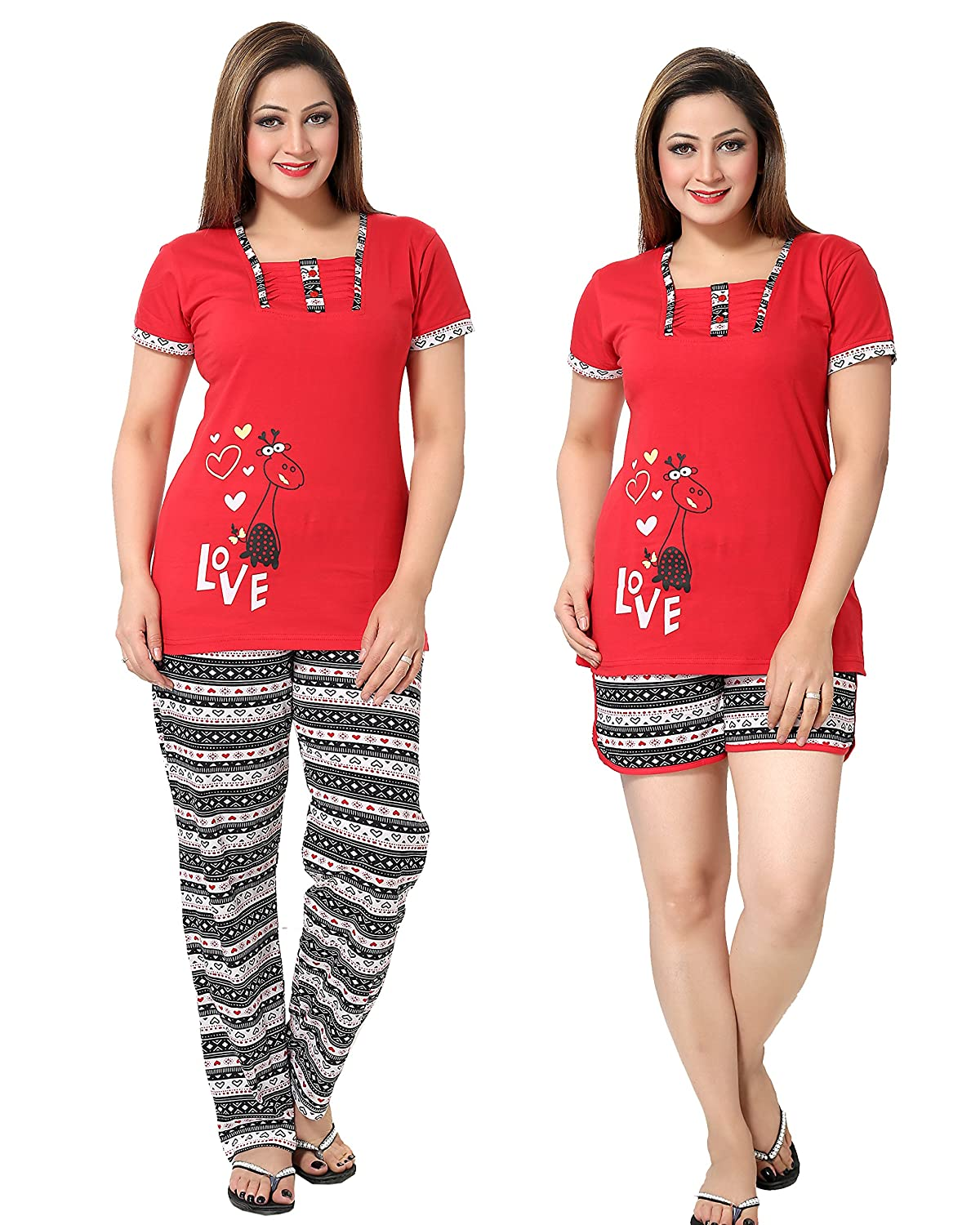 Women Red Graphic Top, Pyjama & Shorts Set