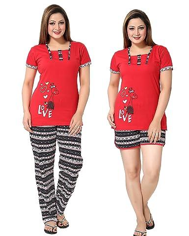AV2 Women Red Graphic Top, Pyjama & Shorts Set Pyjama Sets at amazon