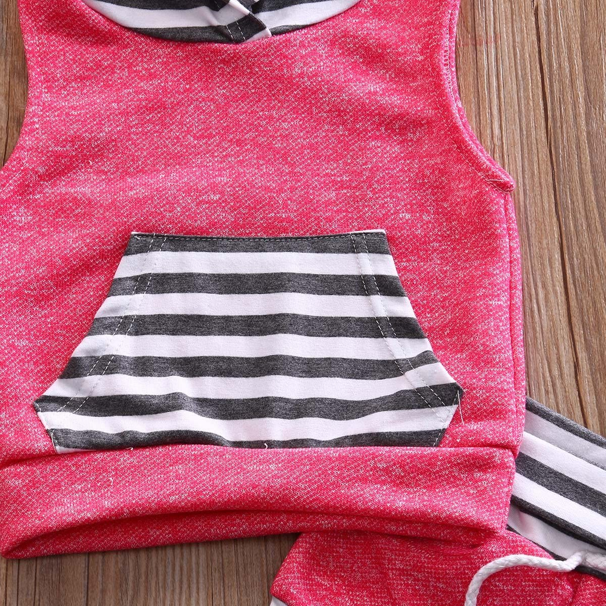 0-4Y Baby Boy Girl 2pcs Set Outfit Brown//Grey//Red Sleeveless Striped Hoodie+Short Pants