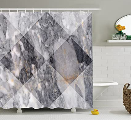 Ambesonne Marble Shower Curtain Geometric Diamond Shaped Grunge Granite Rock Facet Forms Ceramic Abstract Print