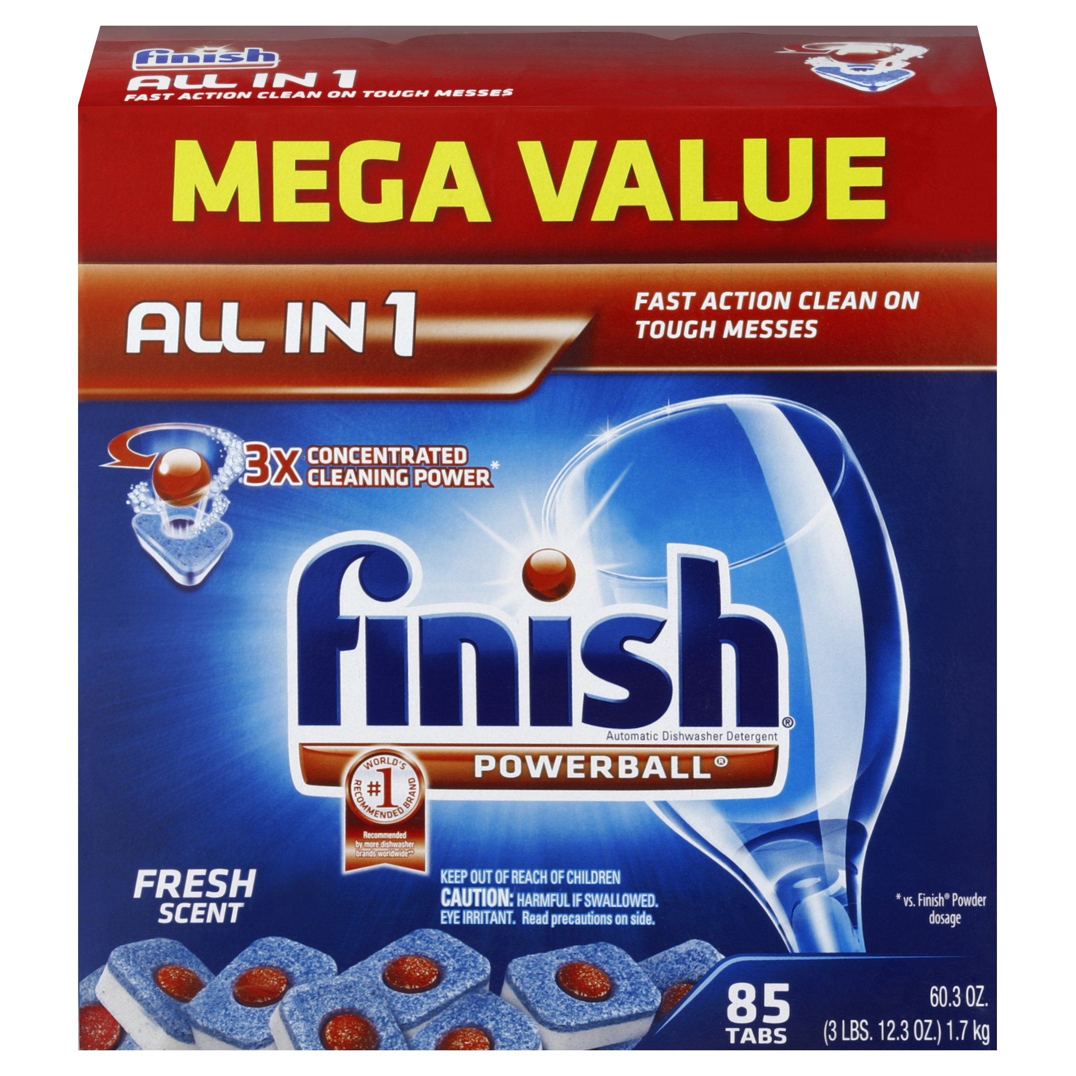 Finish Powerball Tabs Dishwasher Detergent, Fresh Scent, 85-Count