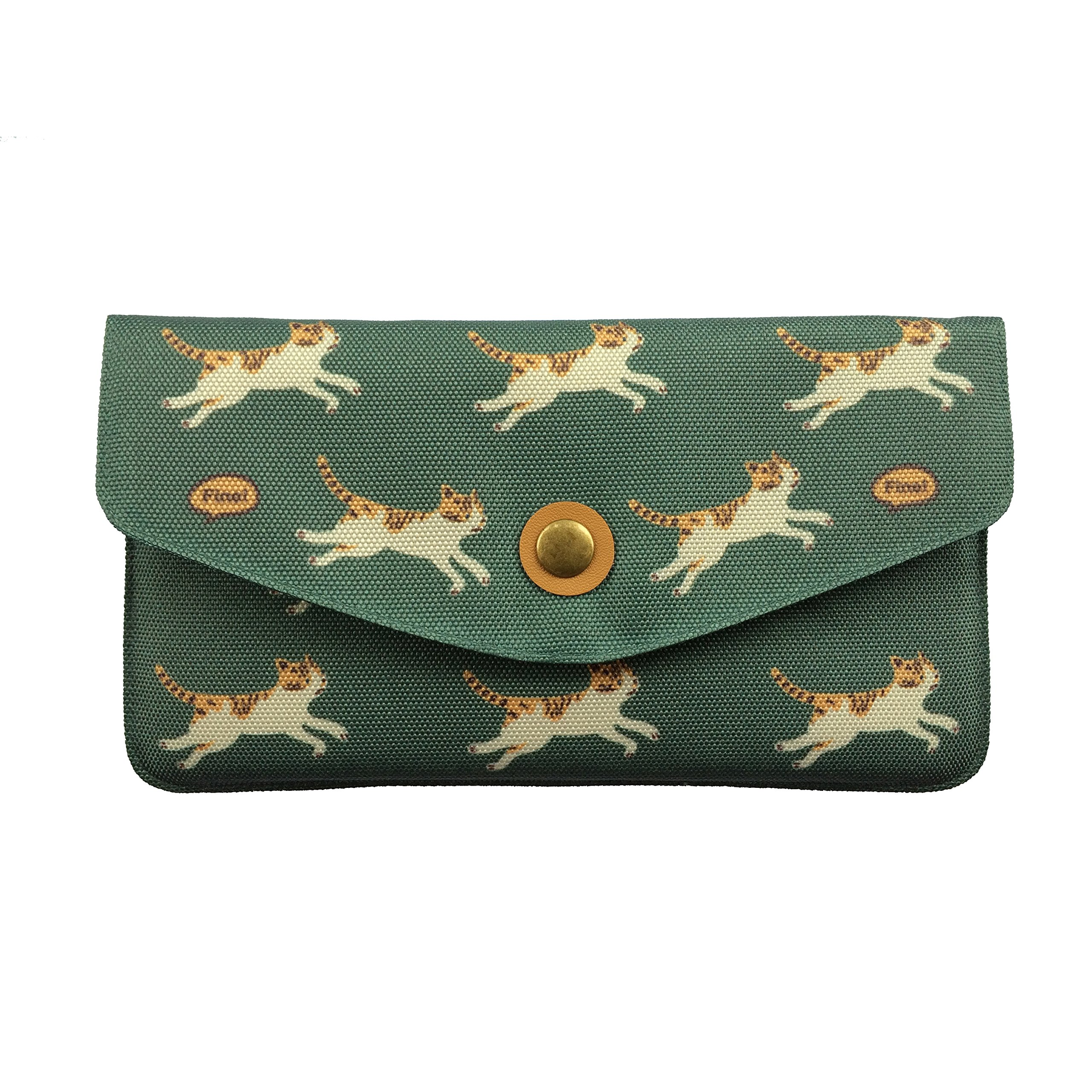 Ulzzang Women's Cloth Cartoon Cat Clutch Wallet (Green)