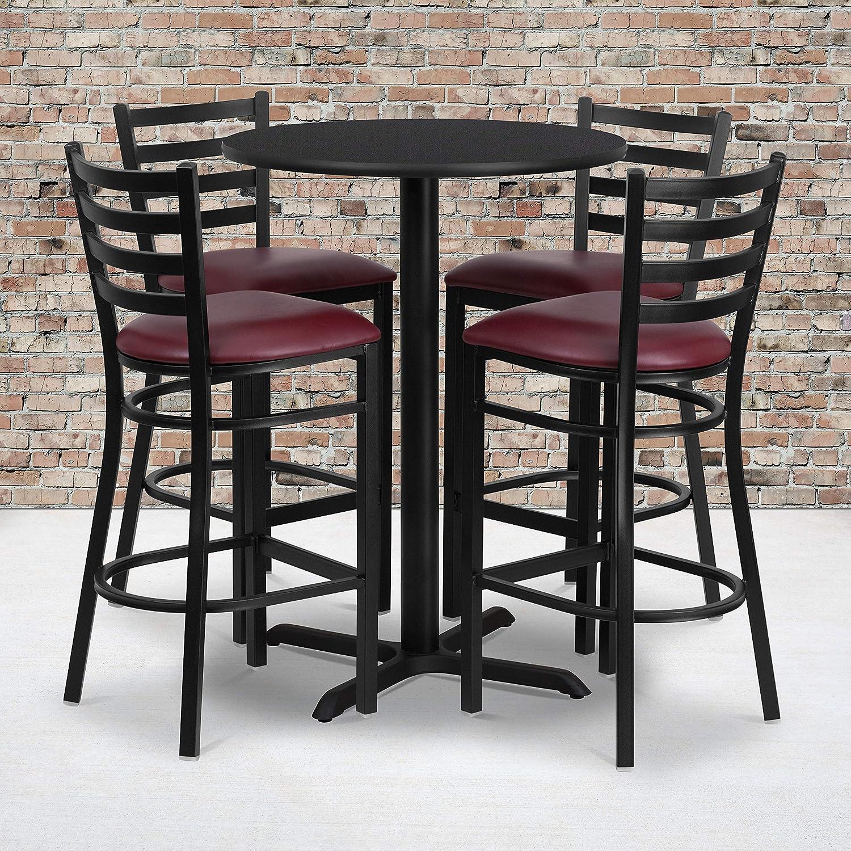 Flash Furniture 30'' Round Black Laminate Table Set with X-Base and 4 Ladder Back Metal Barstools - Burgundy Vinyl Seat