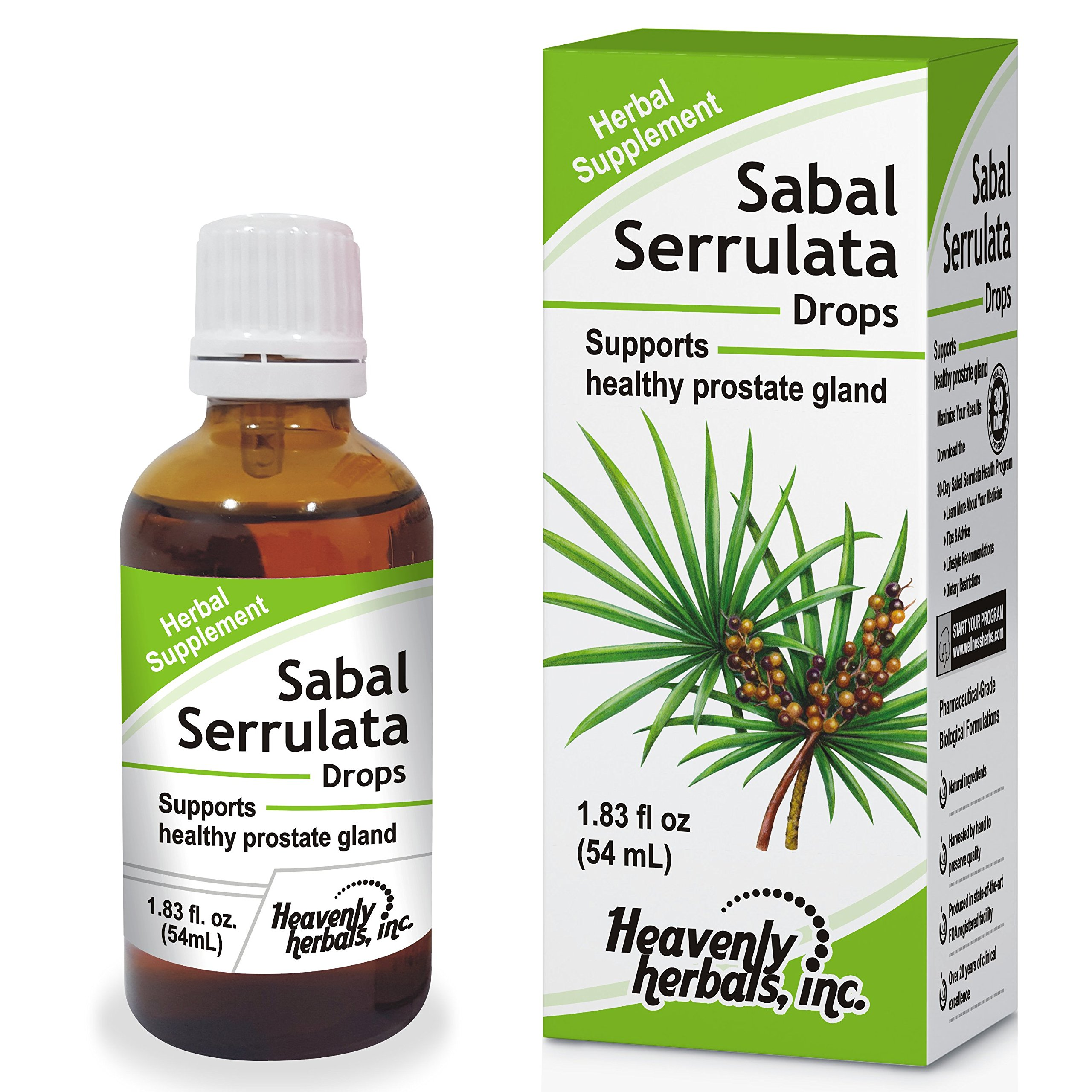 Amazon.com: Sabal Serrulata Drops, Supports Healthy Prostate Gland, 1.83 oz by Heavenly Herbals, Inc. (Alcohol Free): Health & Personal Care