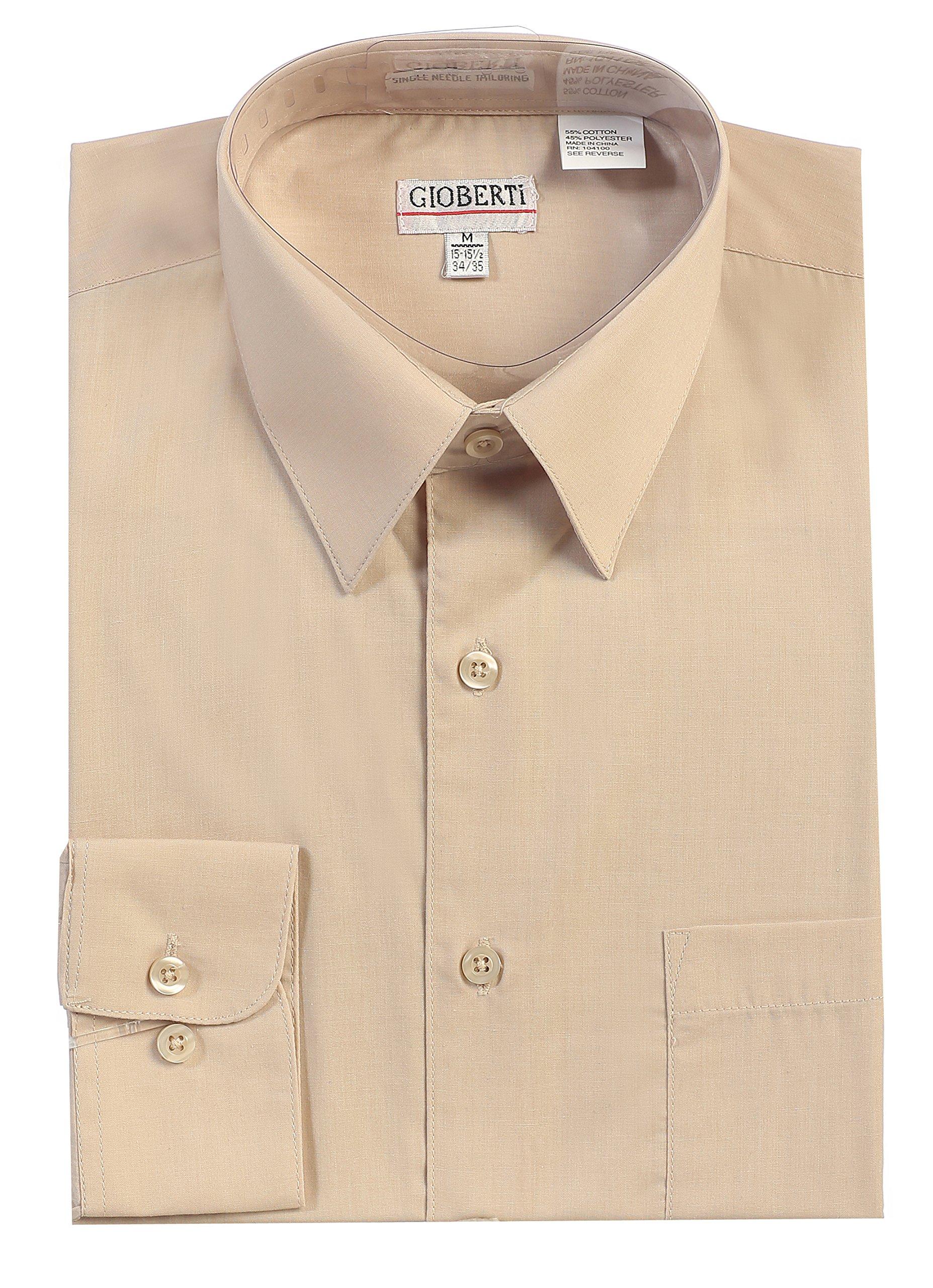 Gioberti Men's Long Sleeve Solid Dress Shirt, Khaki B, 2X Large, Sleeve 37-38