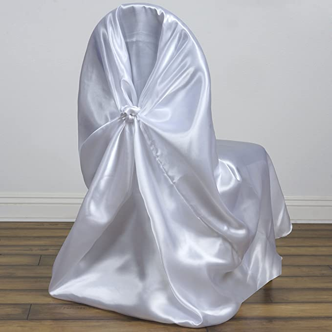 BalsaCircle 50 pcs White Universal Satin Chair Covers Slipcovers for Wedding Party Ceremony Reception Decorations