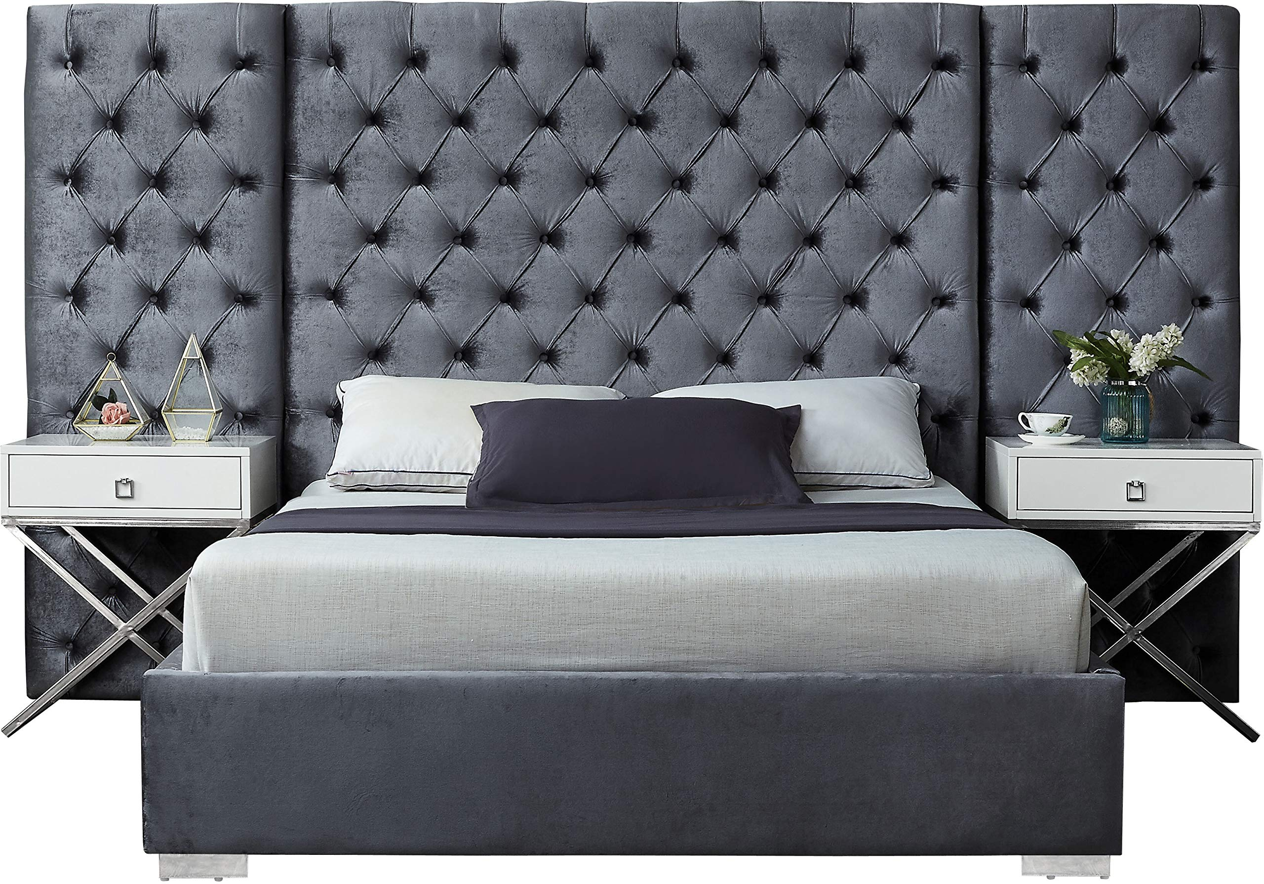 Meridian Furniture Grande Collection Modern | Contemporary Grey Velvet Upholstered Bed with Deep Tufting, with Polished Chrome Stainless Steel Legs, King, by Meridian Furniture