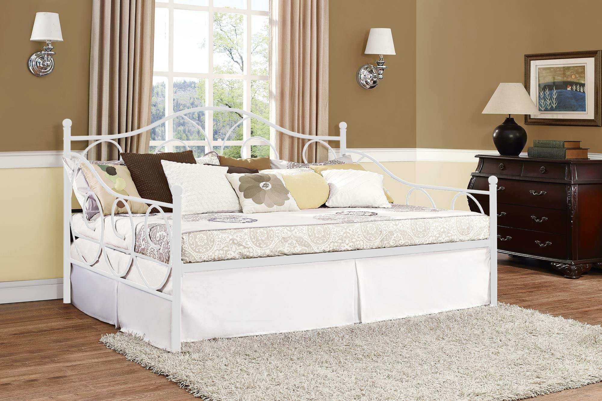 DHP Victoria Daybed Metal Frame, Multifunctional, Includes Metal Slats, Full Size, White by DHP