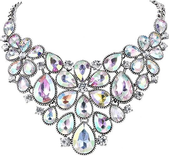Clearine Femme Mariage Parures Cristal Multi Goutte Floral Vintage Collier Plastron Boucles doreilles Bijou Ensemble