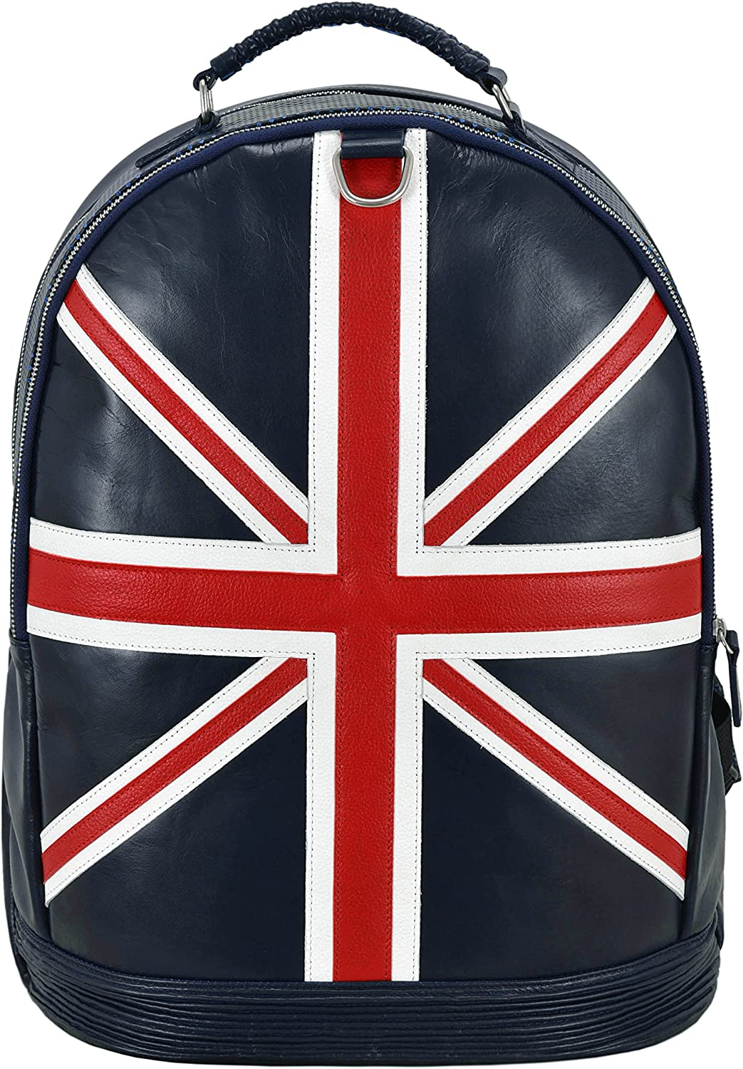 Union Jack Leather Backpack Navy Blue Perforated Classic Style 100/% Real Leather 1005