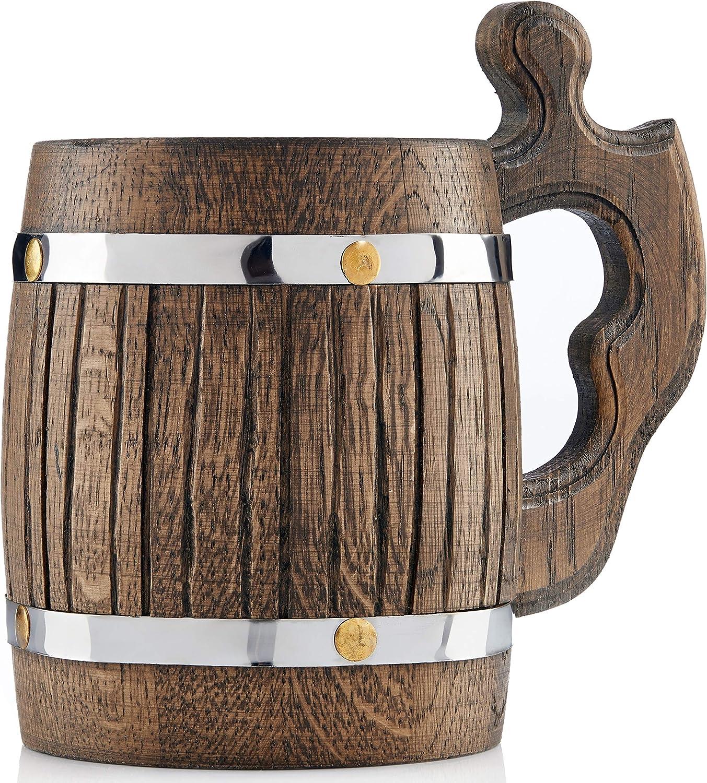 Taza grande de madera de roble – hecha a mano con materiales de calidad increíbles, forrada con metal, resistente, de larga duración marrón