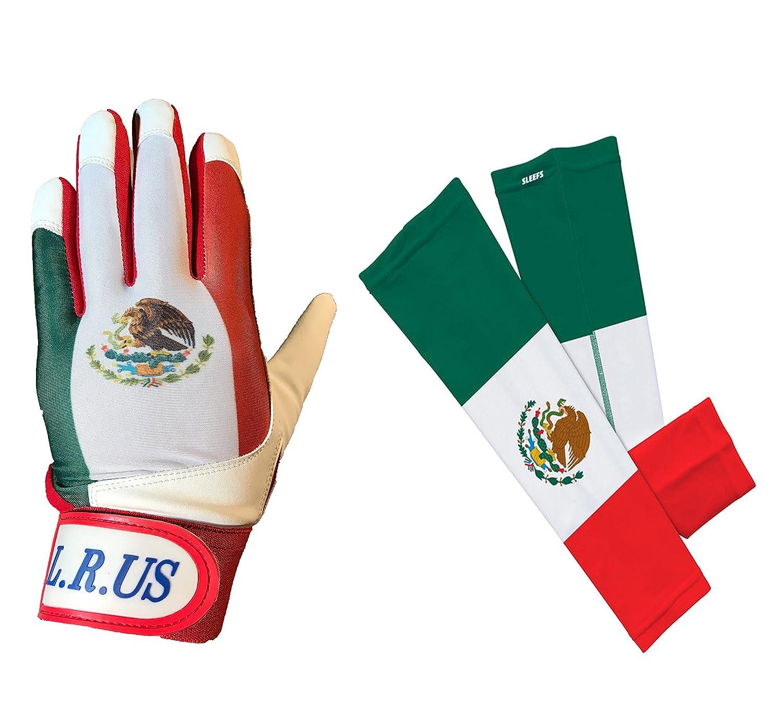 メキシコ国旗バッティング手袋&アームスリーブコンボ B06Y6CCKR7Large