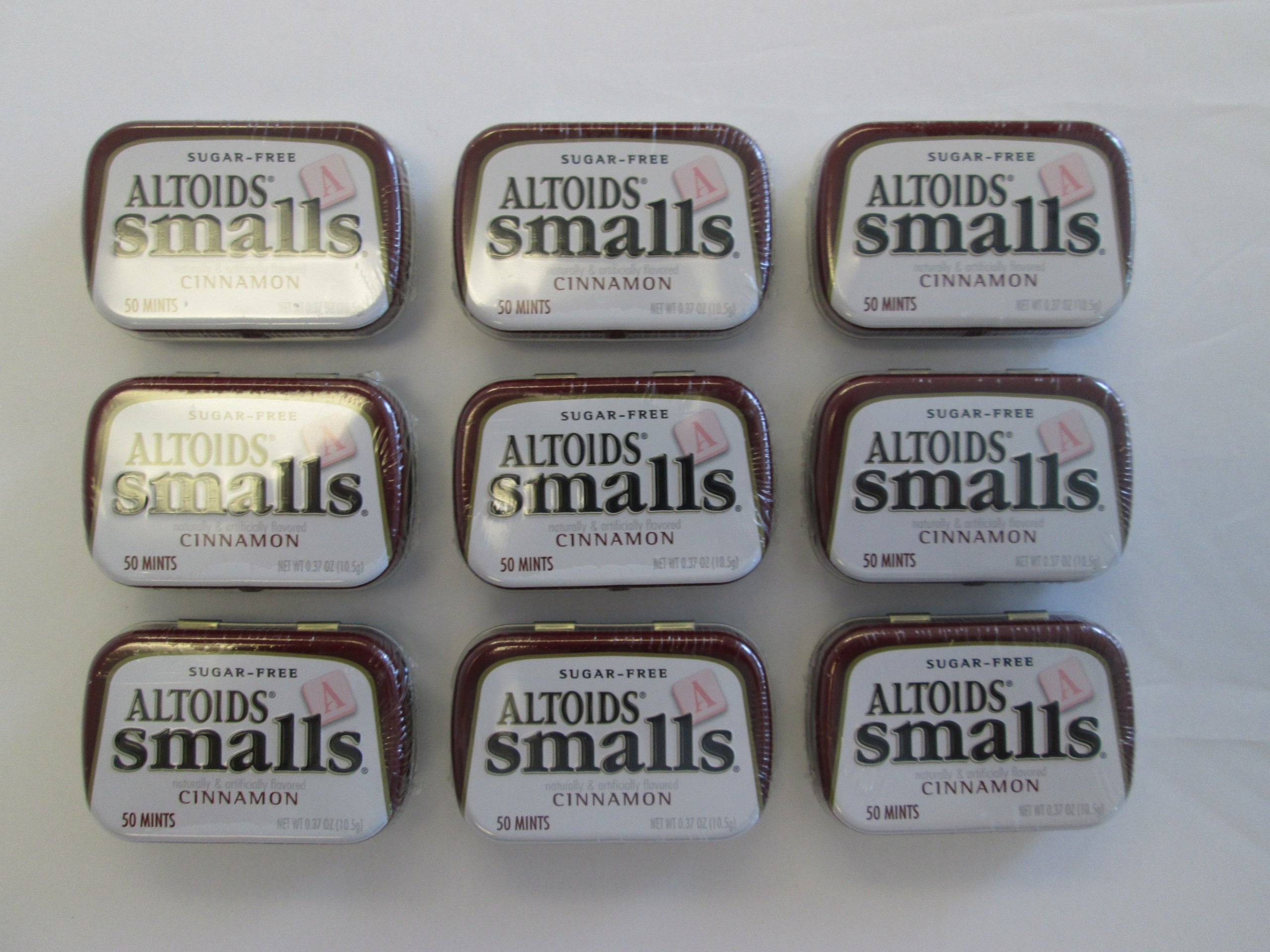 Altoids Smalls Pocket Size Cinnamon Sugar Free Mint Tins - 9 Pack of .37 Oz (50 Mints)