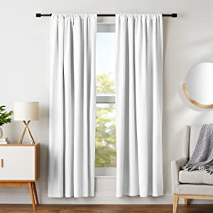 "AmazonBasics Room Darkening Blackout Window Curtains with Tie Backs Set, 42"" x 84"", White"
