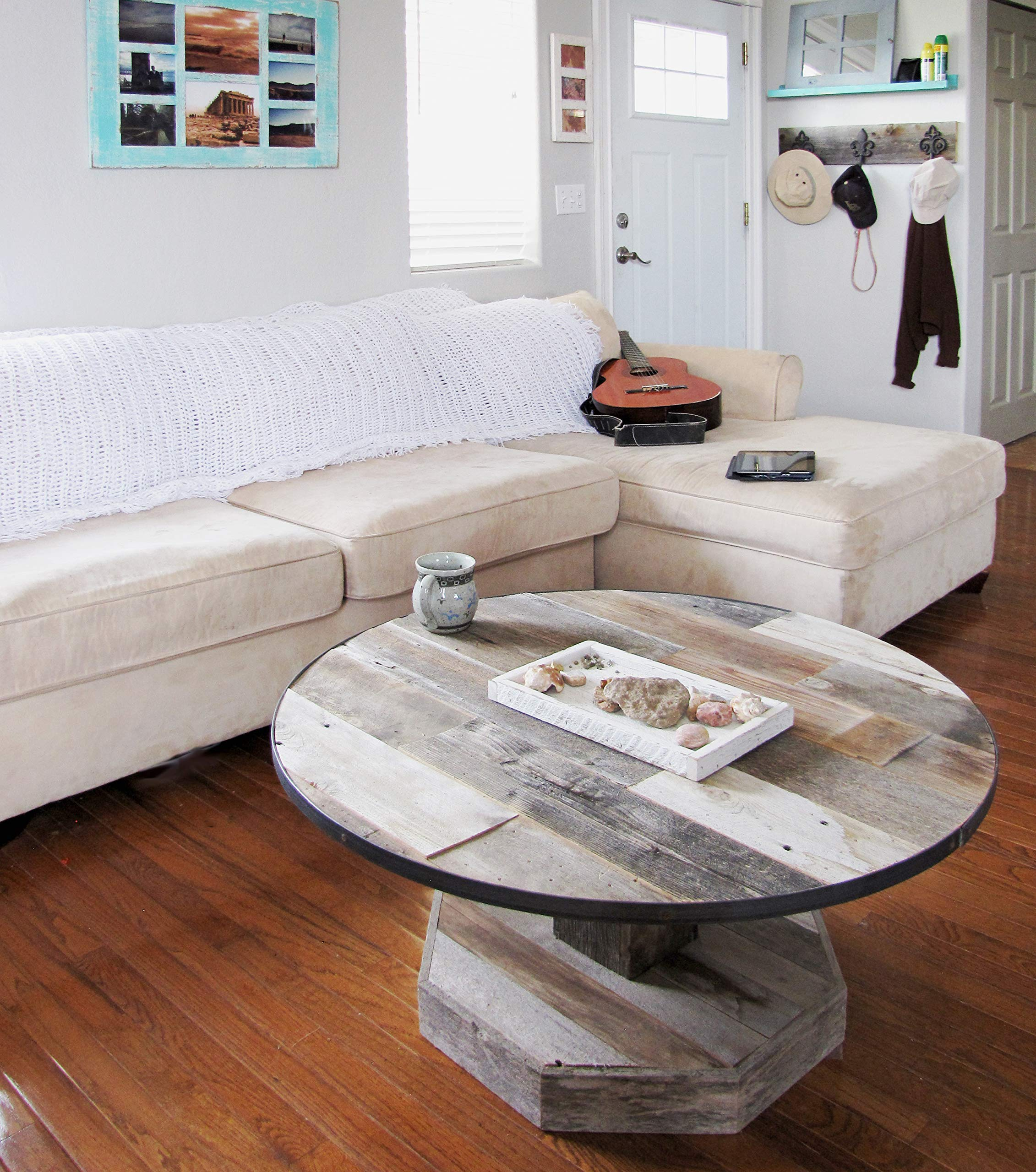 Round Rustic Reclaimed Wood Coffee Table With Metal Ring Rim Real Natural Barnwood Top With Pedestal Leg And Hexagon
