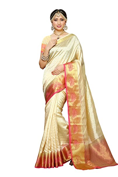7b7a92ac07 Mimosa Women's Tassar Silk Saree With Blouse Piece (2060-2D-Hwt-Gaj,Off  White,Free Size): Amazon.in: Clothing & Accessories