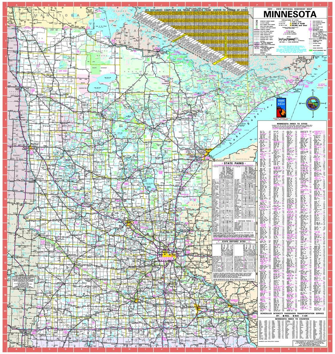 Gifts Delight Laminated 24x25 Poster: Road Map - Official Minnesota State  Highway Map