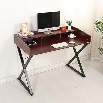Mr IRONSTONE® Bureau Informatique Au Design X Forme Table Moderne  Du0027Ordinateur Avec