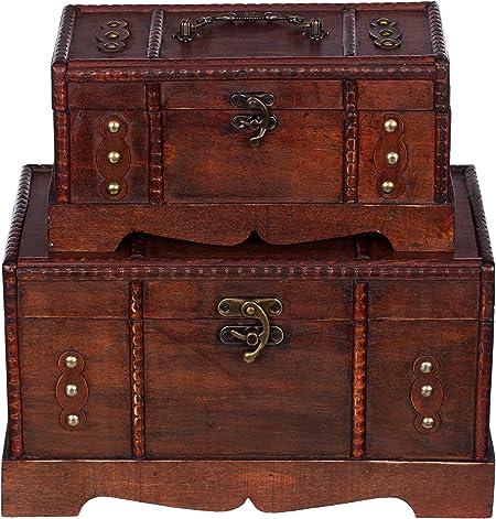 Baúles Set HS 110039, dos Set, Set de regalo baúl, 2 unidades, madera baúl, Cofre del
