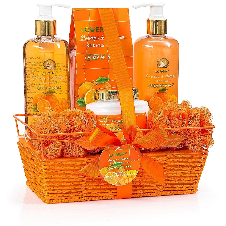 Christmas Home Spa Gift Basket - Orange & Mango Fragrance - Luxurious 7 Piece Bath & Body Set For Women & Men, Contains Shower Gel, Bubble Bath, Body Lotion, Bath Salt, 2 Bath Poufs & Handmade Basket