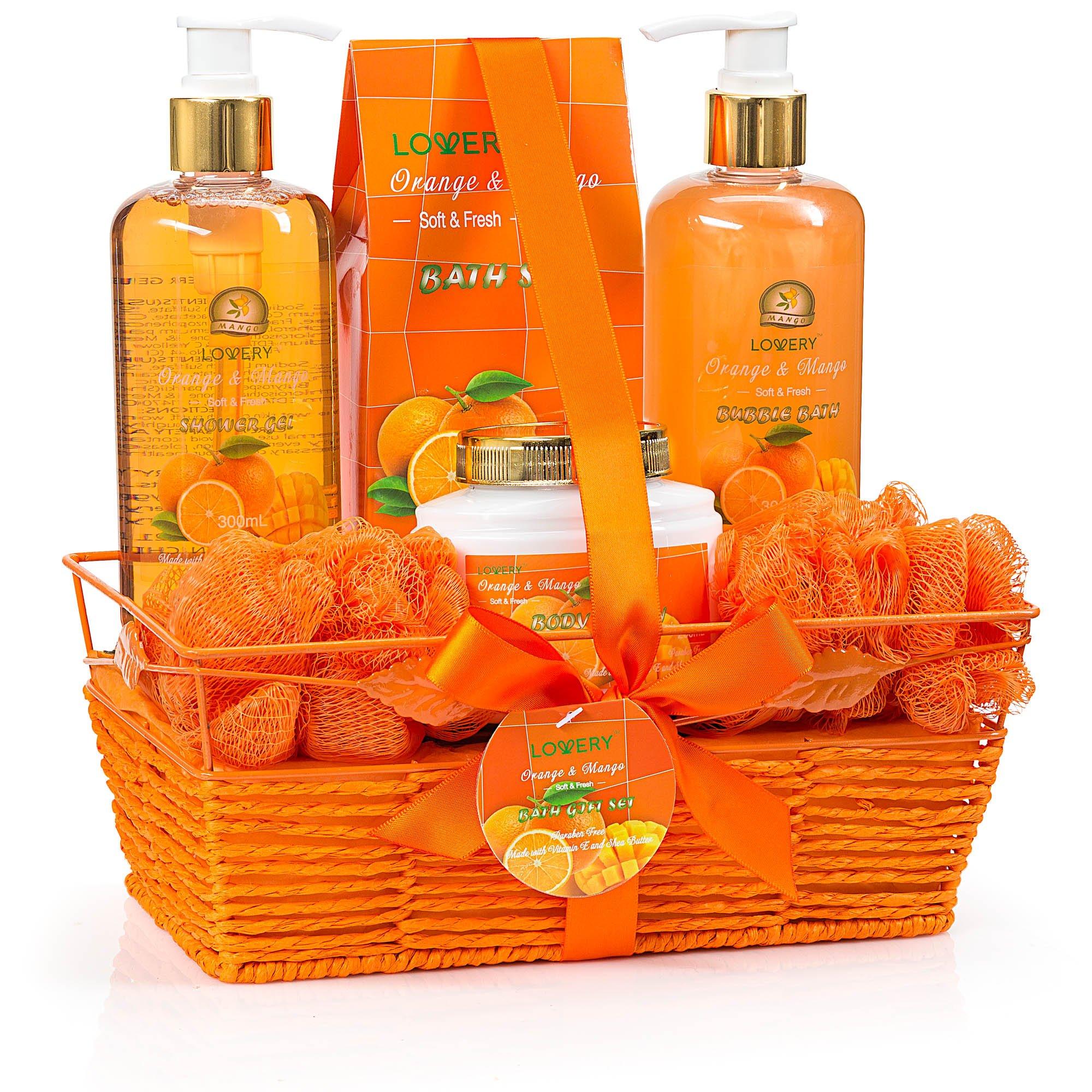 Easter Spa Gift Basket for Women - Orange & Mango Fragrance - Luxury 7 Piece Bath & Body Set For Women & Men, Contains Shower Gel, Bubble Bath, Body Lotion, Salts, 2 Bath Poufs and Handmade Basket