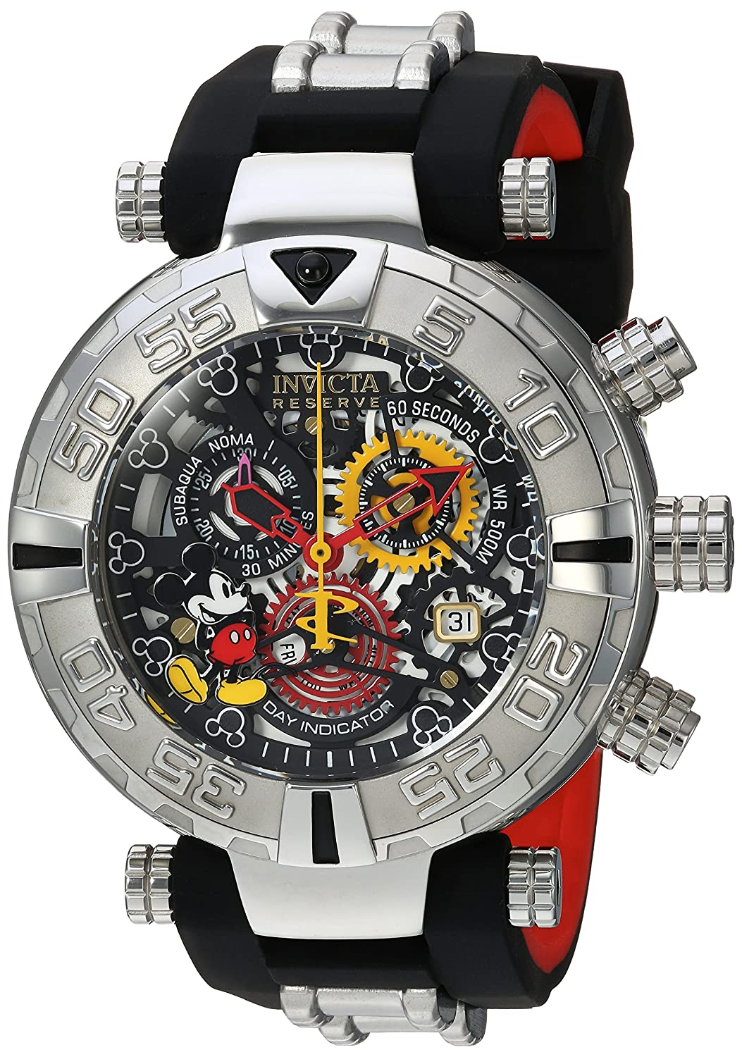 Invicta Mens Disney Limited Edition Swiss Quartz Stainless Steel and Silicone Casual Watch,