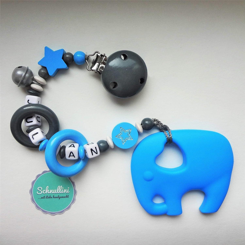 Schnullerkette mit Namen • Elefant /& Stern • hellblau dunkelblau • Baby Junge