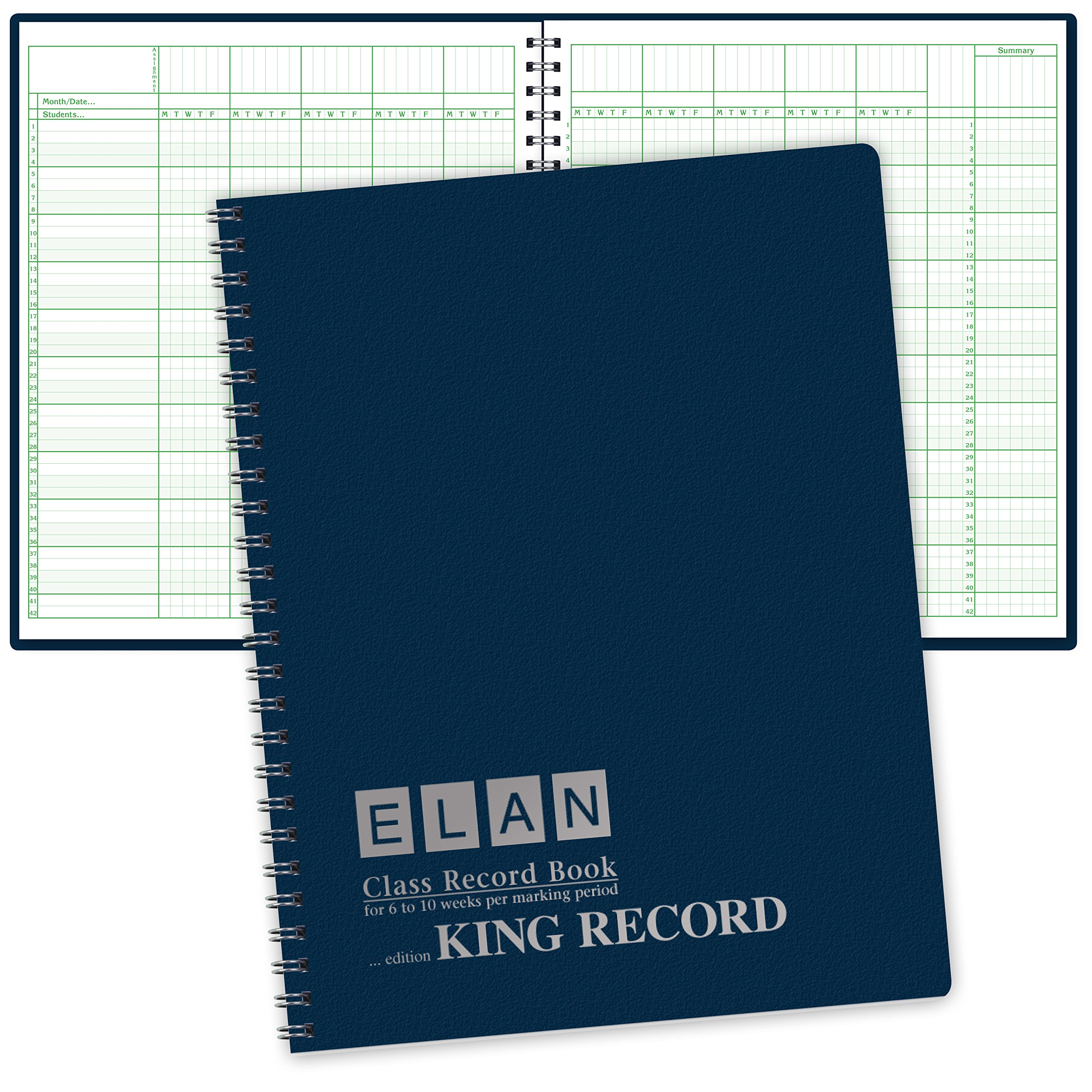 Extra Large (11''x13'') Record Book for 6-10 Weeks; Extra-large Squares (1/4'') 42 Student Names (King Record)