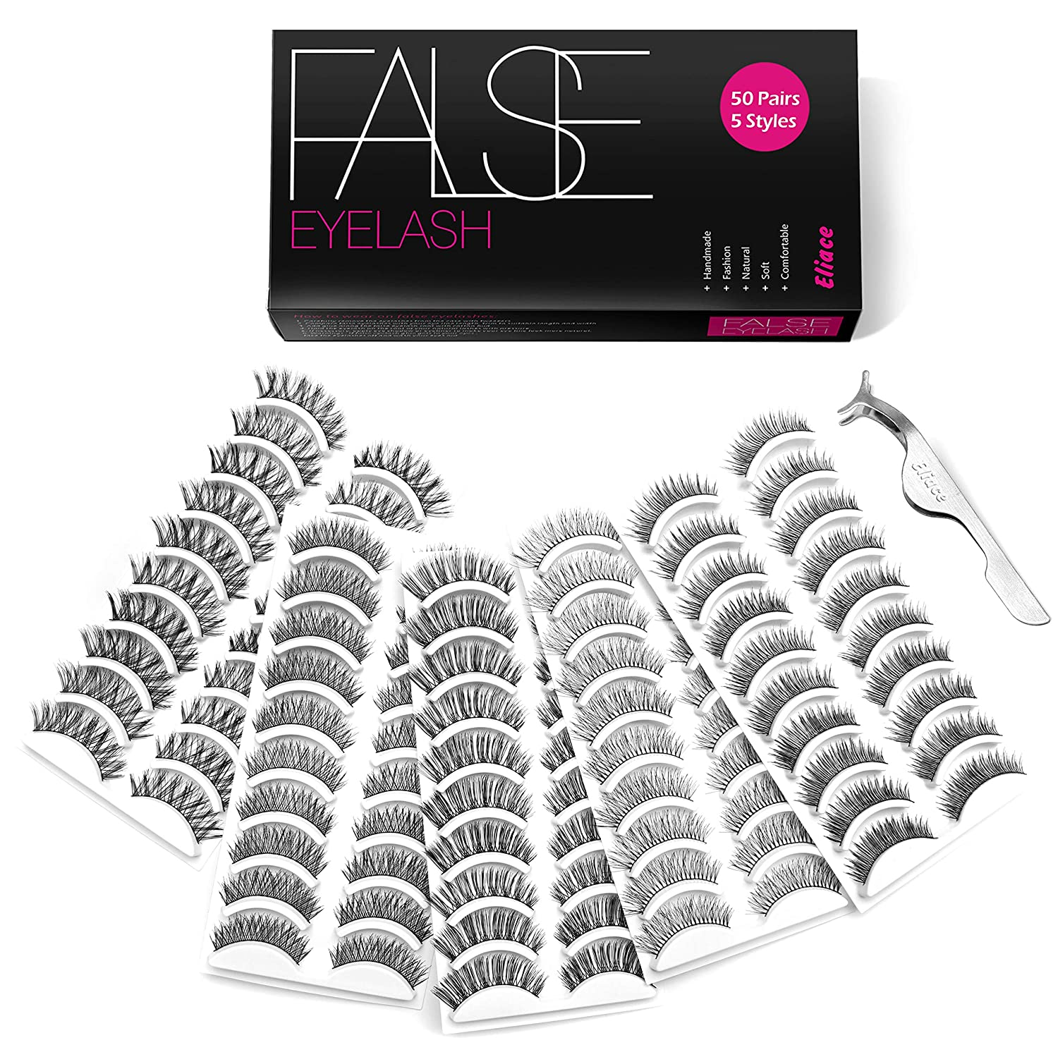 Eliace false eyelashes 50 pairs - Best false lashes for Asian eyes