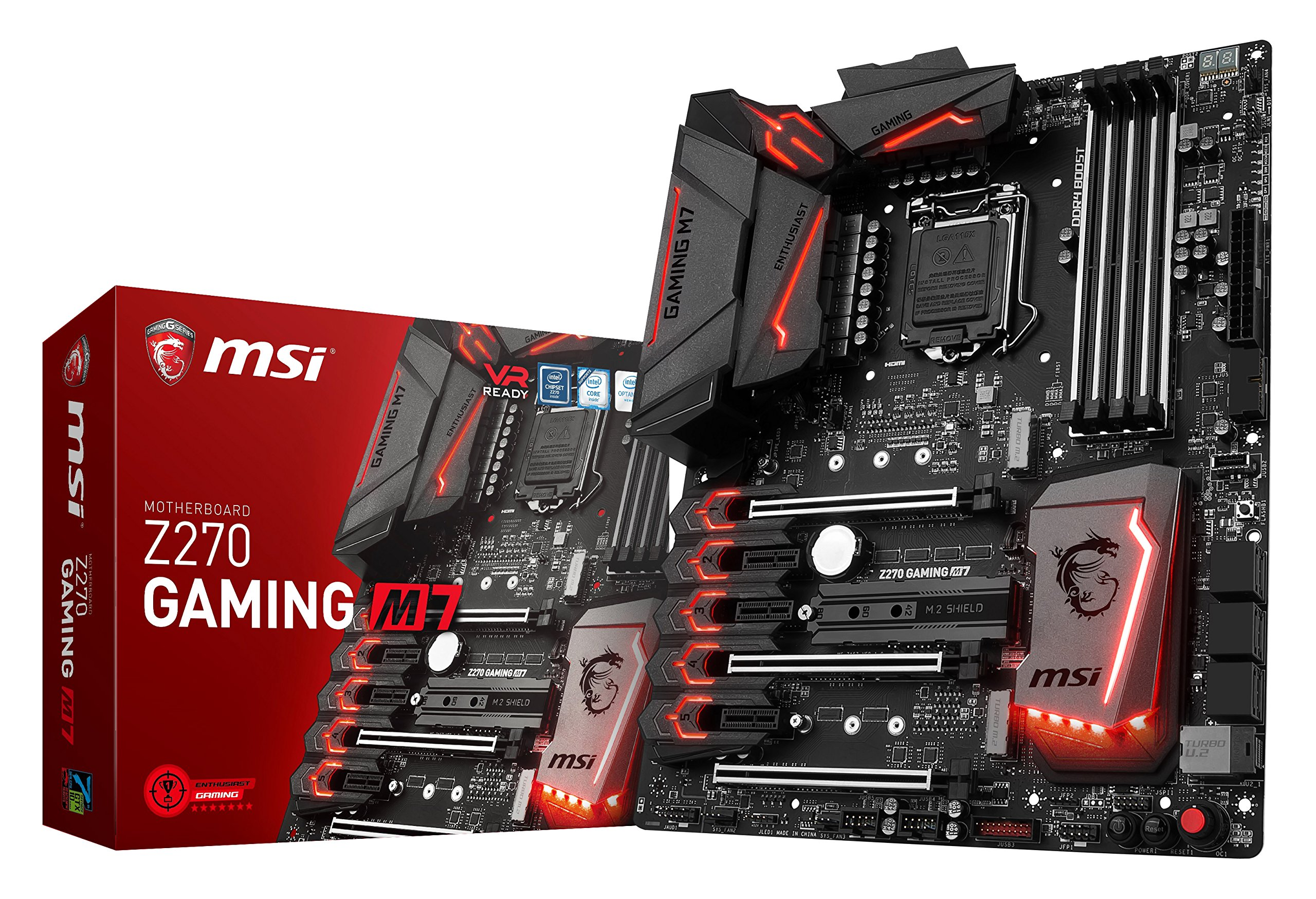 MSI Enthusiastic Gaming Intel Z270 DDR4 VR Ready HDMI USB 3 ATX Motherboard (Z270 GAMING M7) by MSI