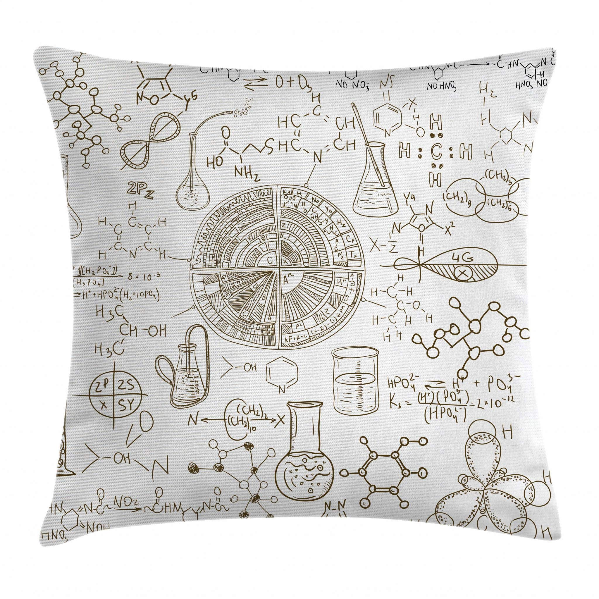 Ambesonne Science Throw Pillow Cushion Cover, Science Theme Hand Drawn Style Chemistry Laboratory School Classroom Illustration, Decorative Square Accent Pillow Case, 24 X 24 Inches, Umber White