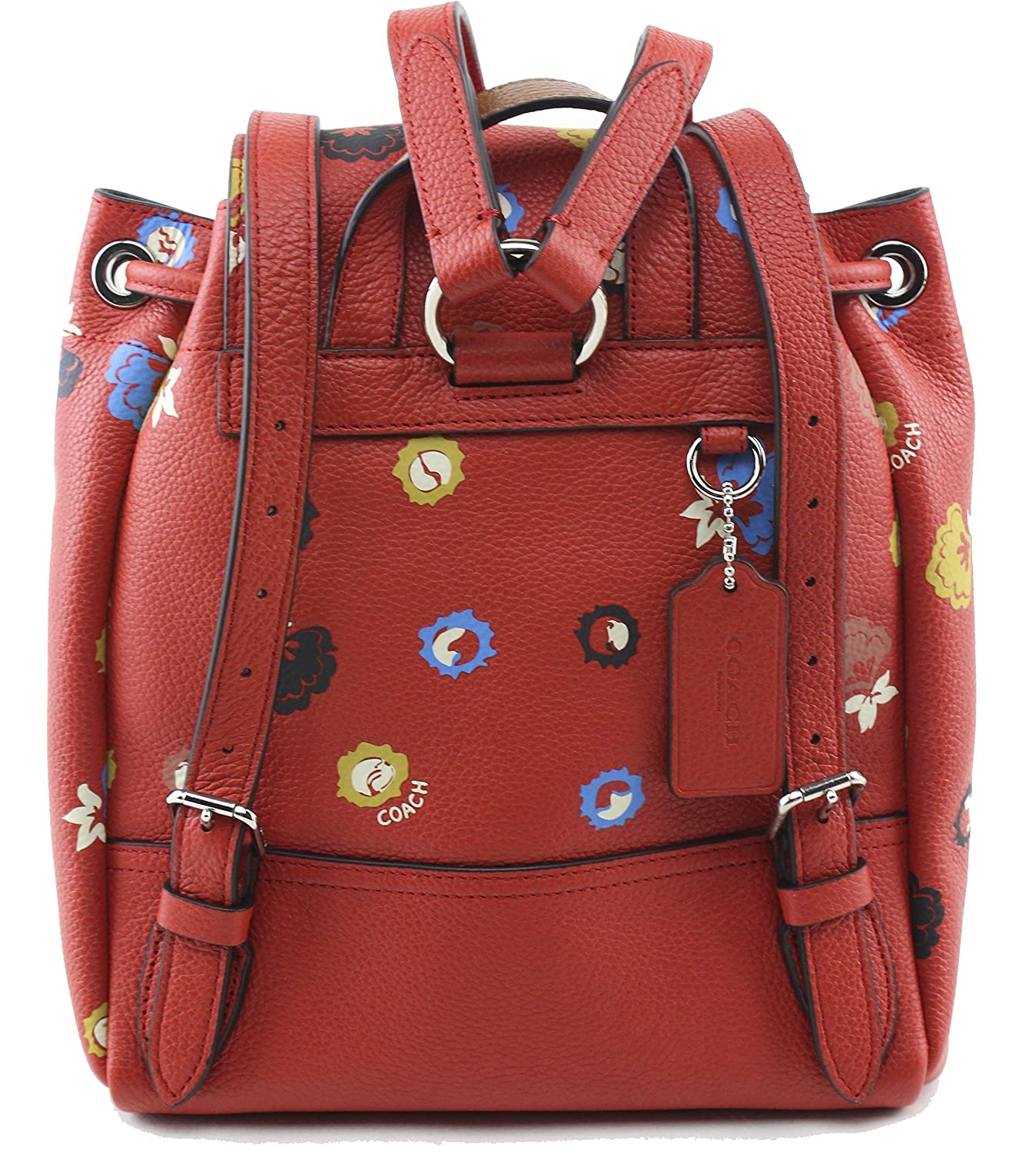 Coach Women s Orange Mini Turnlock Rucksack With Floral Print, Style F37738