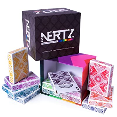 Brybelly Nertz: The Fast Frenzied Fun Card Game - 12 Decks of Playing Cards in 12 Vibrant Colors, Bulk Set of Poker Wide-Size/Regular Index, Plastic-Coated Cards: Toys & Games