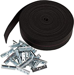 House2Home Elasbelt Webbing Kit, 2 Inch Wide x 60 Feet Long, Includes Metal End Clips and Installation Instructions