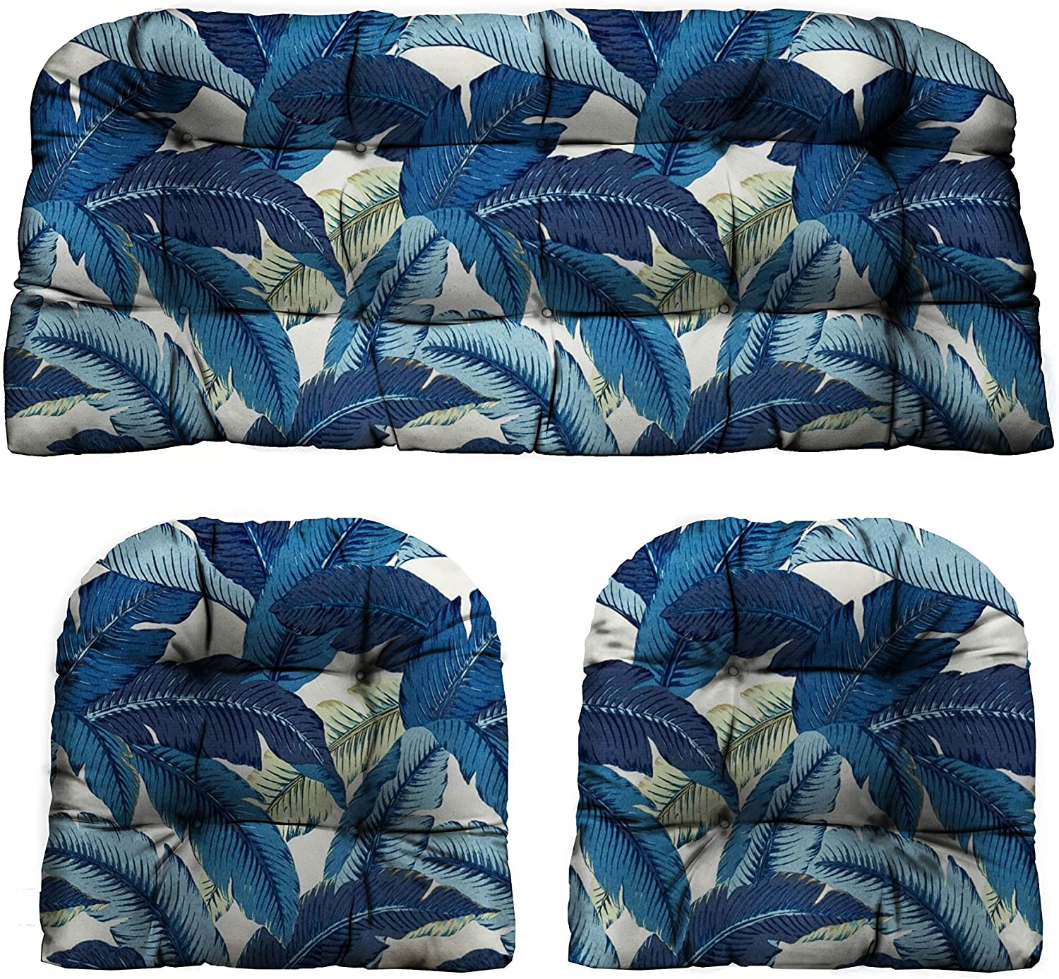 """RSH Décor Indoor/Outdoor Decorative 3 Piece Love Seat/Settee & 2 Chair Wicker Cushion Sets Made with Tommy Bahama Fabric (Standard ~ 2-19""""x19"""" & 41""""x19"""", Swaying Palm Blue Escape)"""