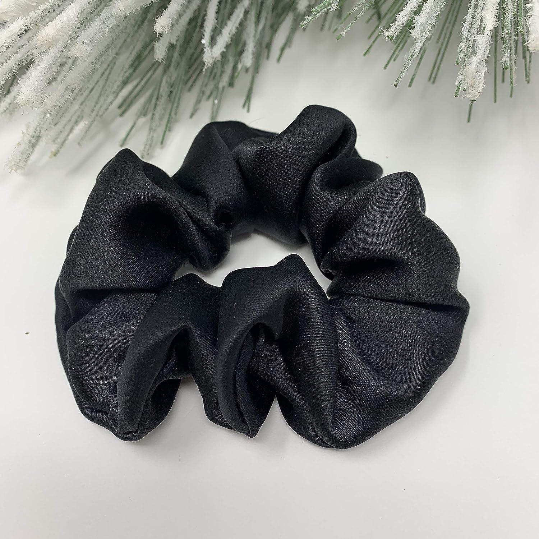Black Handmade 100/% Pure Silk Scrunchie