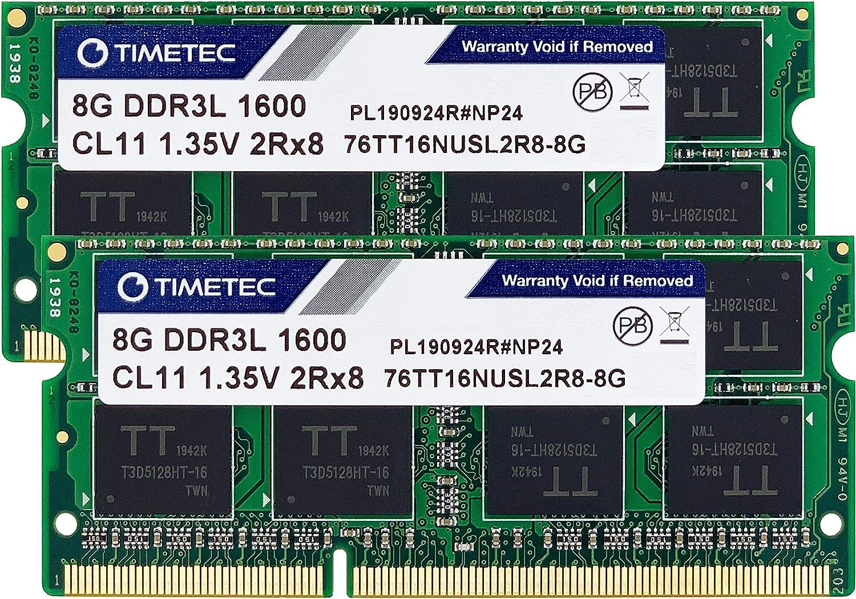 Timetec Hynix IC 16GB KIT(2x8GB) DDR3L SODIMM for Intel NUC KIT/Mini PC/HTPC/NUC Board 1600MHz PC3L-12800 Non ECC Unbuffered 1.35V CL11 2Rx8 Dual Rank 204 Pin Memory Ram Module Upgrade(16GB KIT(2x8GB)